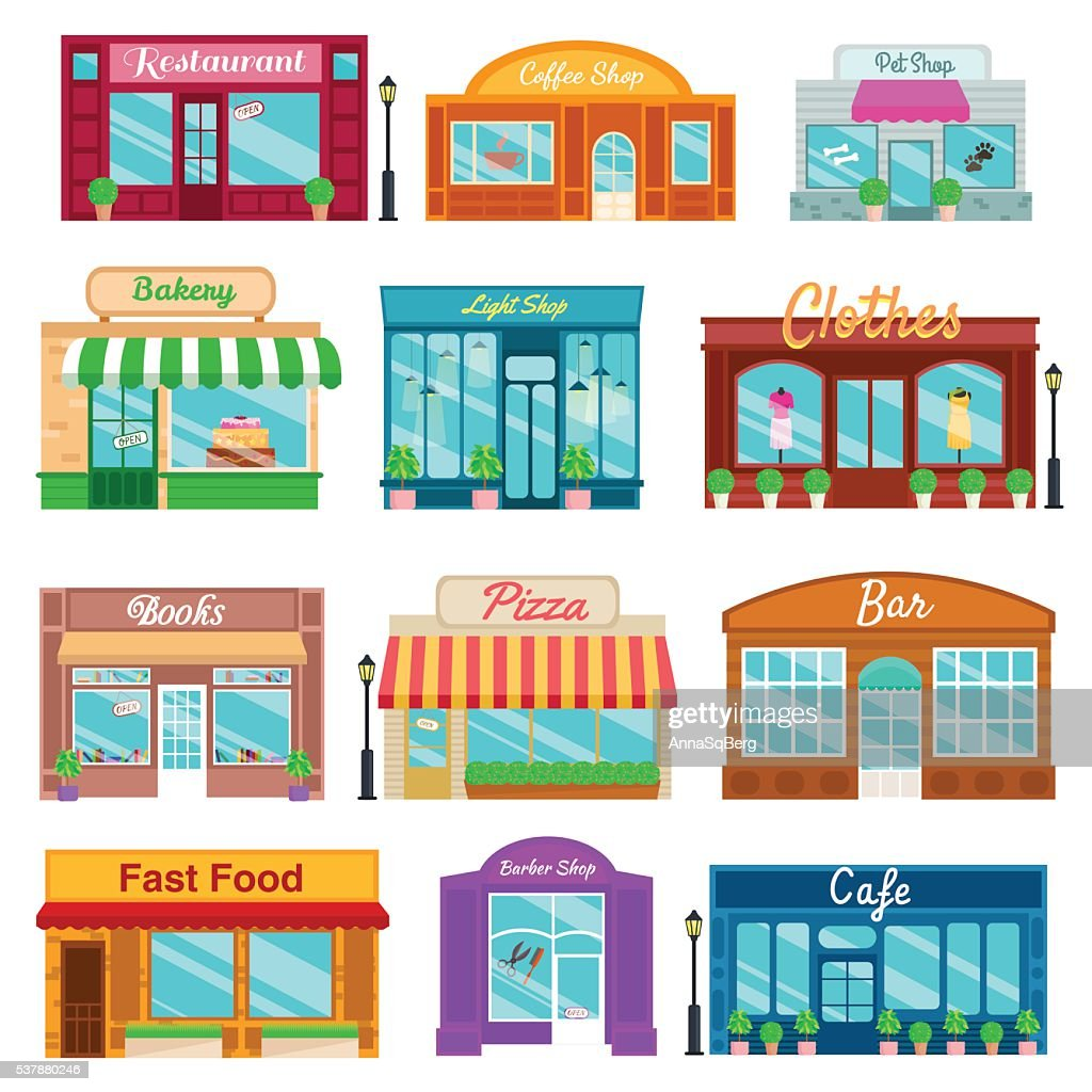 Shops and stores front icons set flat style. Vector illustration