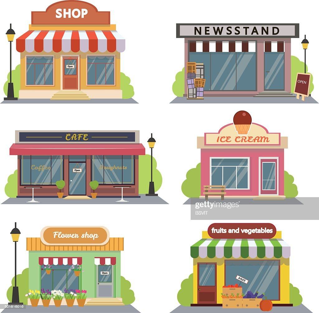 Shops and stores icons set in flat design style.