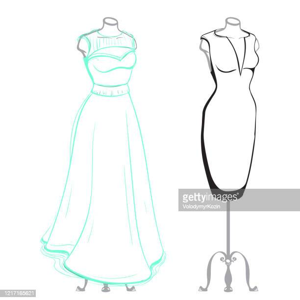 short and long women's dresses on mannequins dressed, made in thumbnail style - drawing artistic product stock illustrations