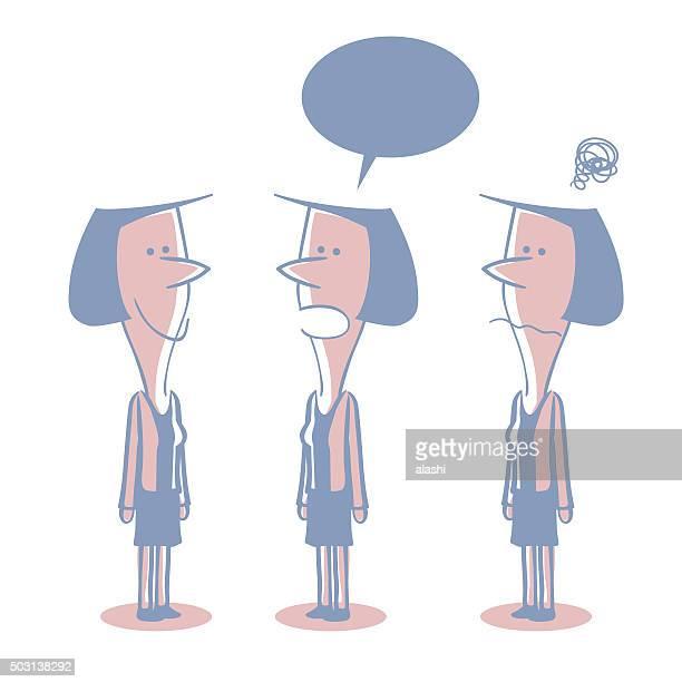 ilustraciones, imágenes clip art, dibujos animados e iconos de stock de cabello corto empresaria (maestro) garabato emoción; hablar; sonriendo; preocupado, confundir - madre trabajadora