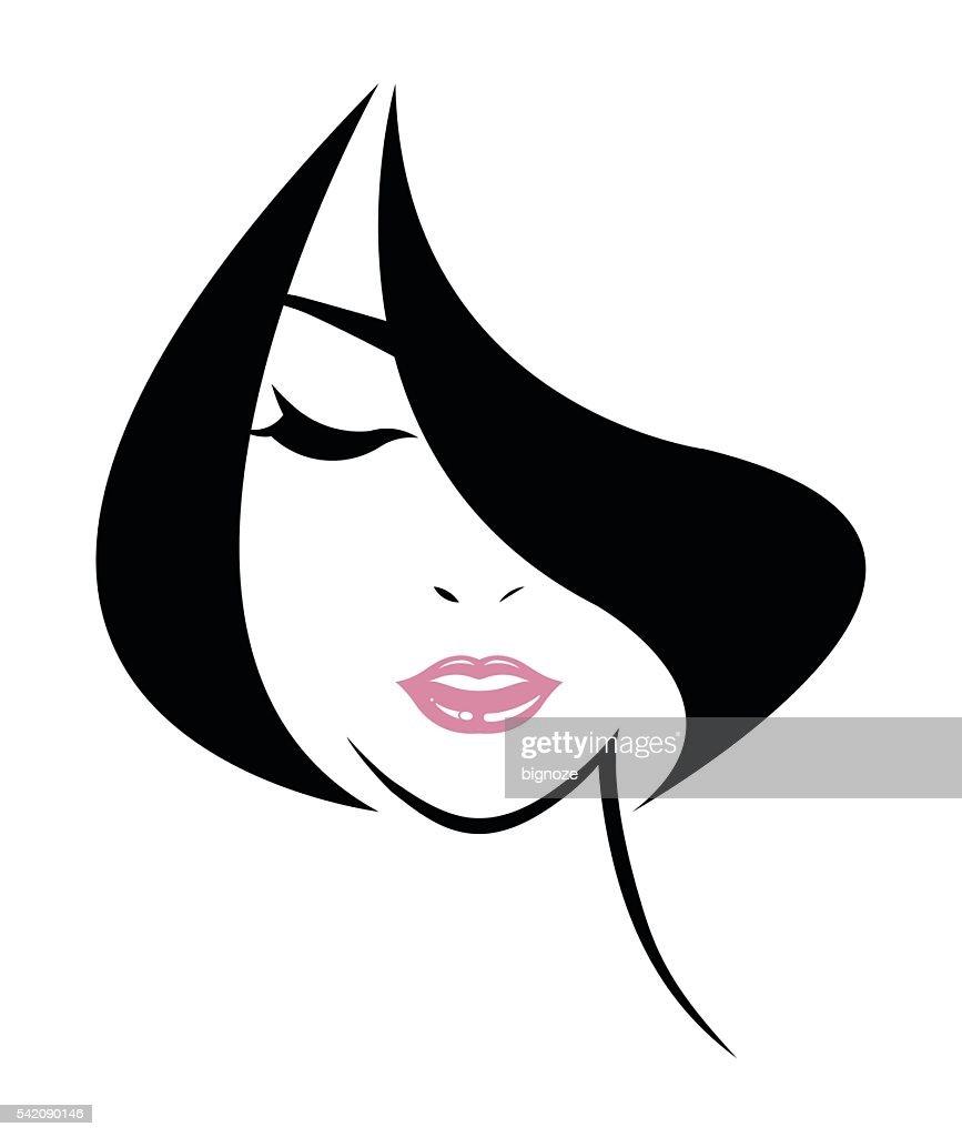 short hair style icon, logo women face