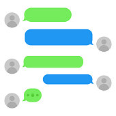 Short message service bubbles with place for text chat text boxes. Empty messaging bubles.