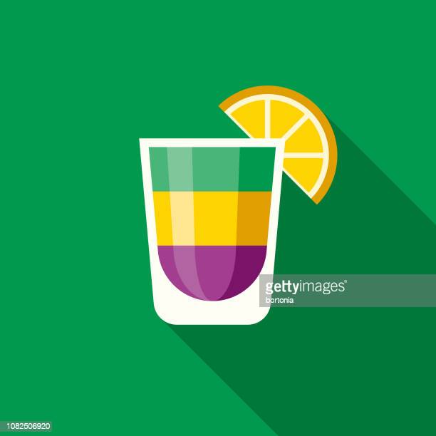shot glass flat design mardi gras icon - shot glass stock illustrations, clip art, cartoons, & icons