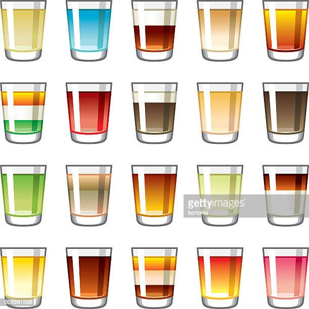shot glass icons set - shot glass stock illustrations, clip art, cartoons, & icons