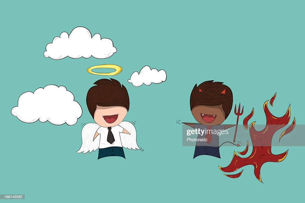 Shoulder devil and angel Childish drawing businessman