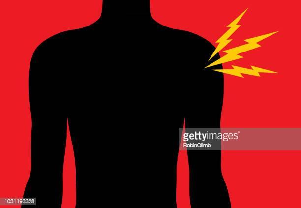 ilustraciones, imágenes clip art, dibujos animados e iconos de stock de icono de dolor de hombro - hombre sensible