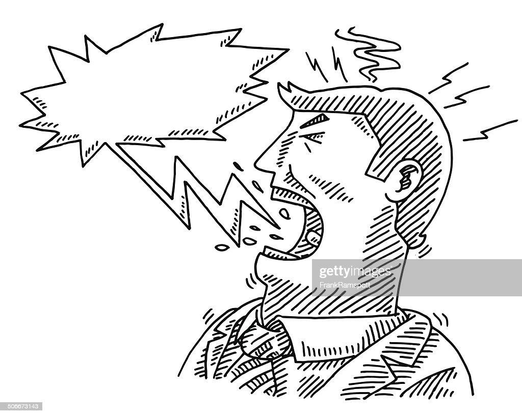 Shouting Businessman Speech Bubble Drawing