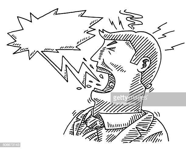 illustrations, cliparts, dessins animés et icônes de crier l'homme d'affaires dessin bulle de dialogue - contrarié