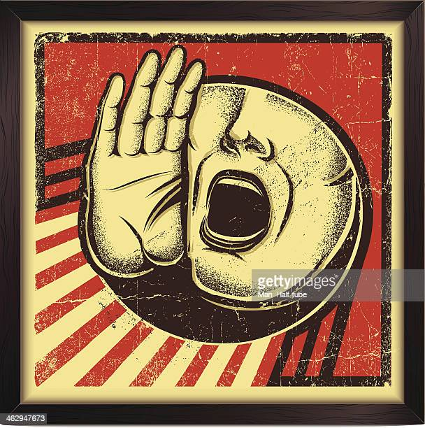 shouting person sign - mouth stock illustrations, clip art, cartoons, & icons