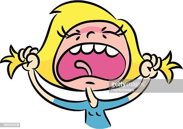 ilustraciones, imágenes clip art, dibujos animados e iconos de stock de mujer gritar - tirarse de los pelos