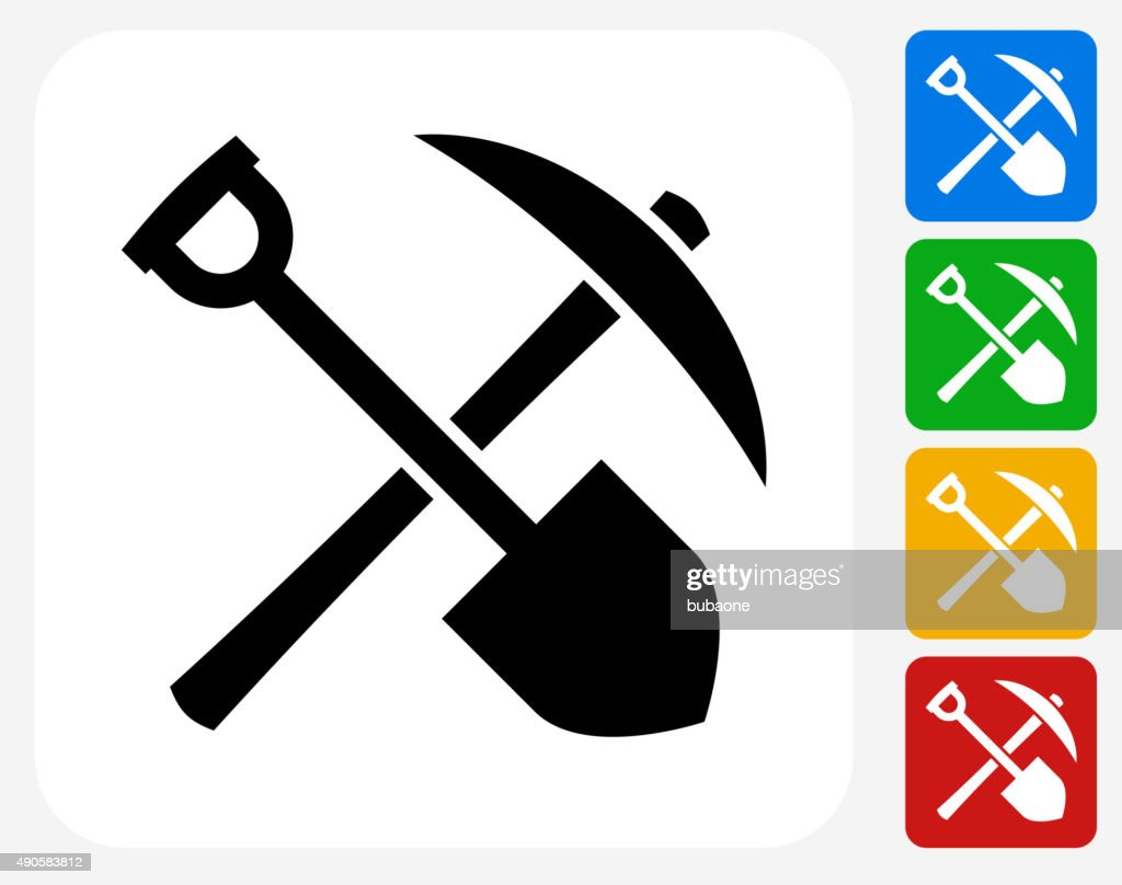Pick axe stock illustrations and cartoons getty images shovel and axe icon flat graphic design buycottarizona Choice Image