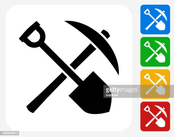 Shovel and Axe Icon Flat Graphic Design