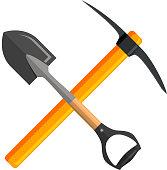 Shovel and pickaxe tools,