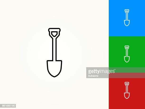 shovel black stroke linear icon - shovel stock illustrations