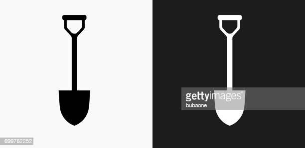 シャベル アイコンの黒と白のベクトルの背景 - 掘る点のイラスト素材/クリップアート素材/マンガ素材/アイコン素材