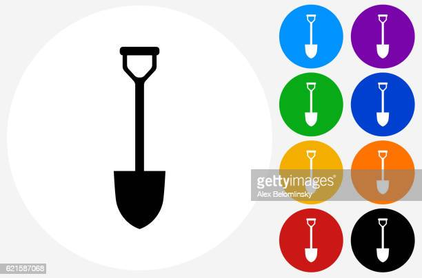 Shovel Icon on Flat Color Circle Buttons