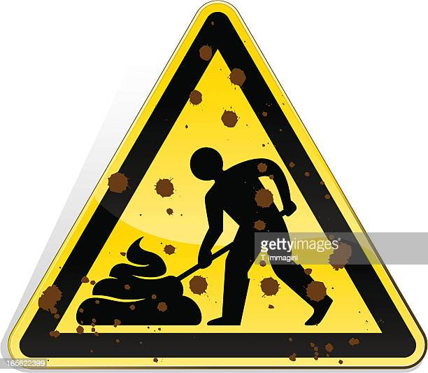 shovel manure in progress - feces stock illustrations, clip art, cartoons, & icons
