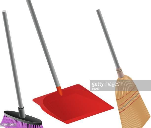 shovel,brush and brooms - winterdienst stock illustrations