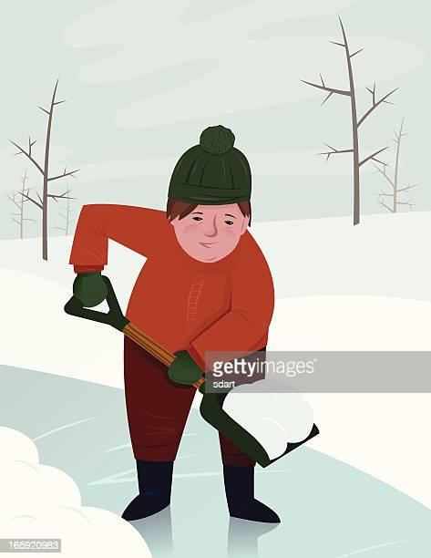 shoveling snow - snow shovel stock illustrations