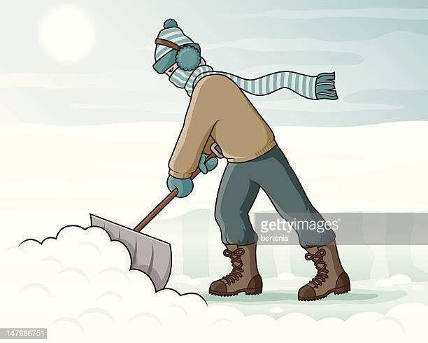 shovelling snow - winterdienst stock illustrations