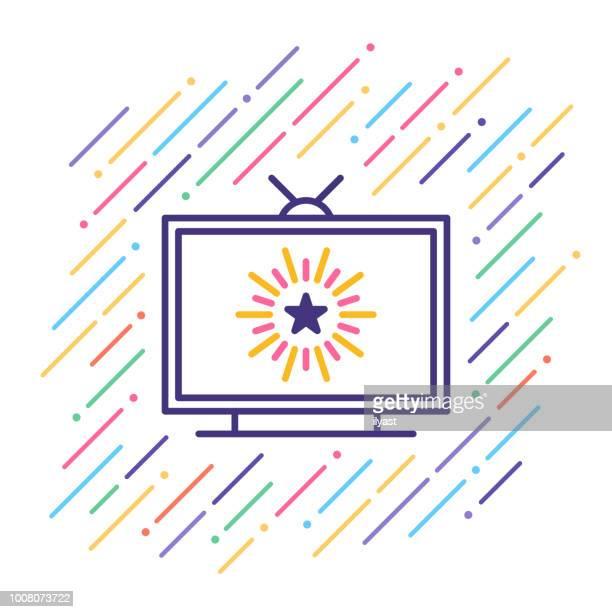 tv-show liniensymbol - television show stock-grafiken, -clipart, -cartoons und -symbole