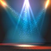 Show or dance floor vector background with spotlights