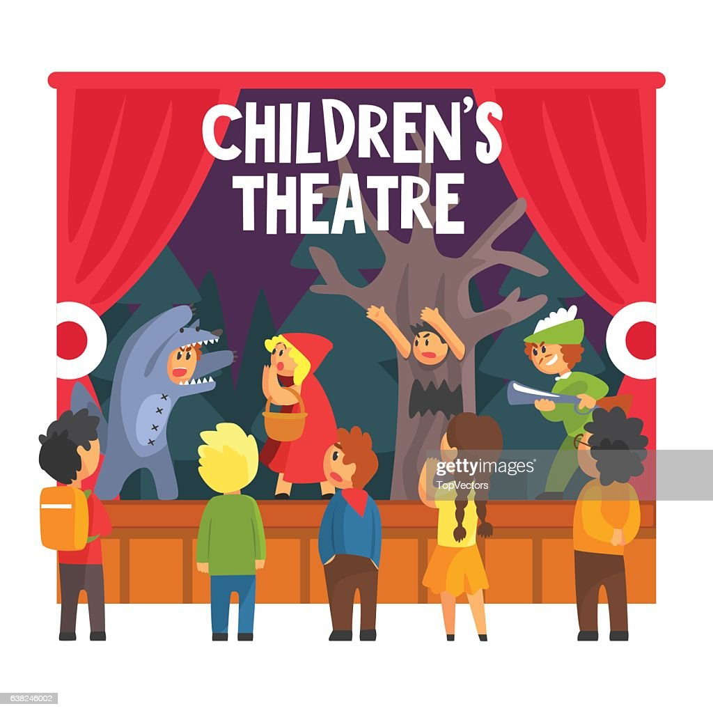 Show Scene With Wolf And Hunter Performed By Kids