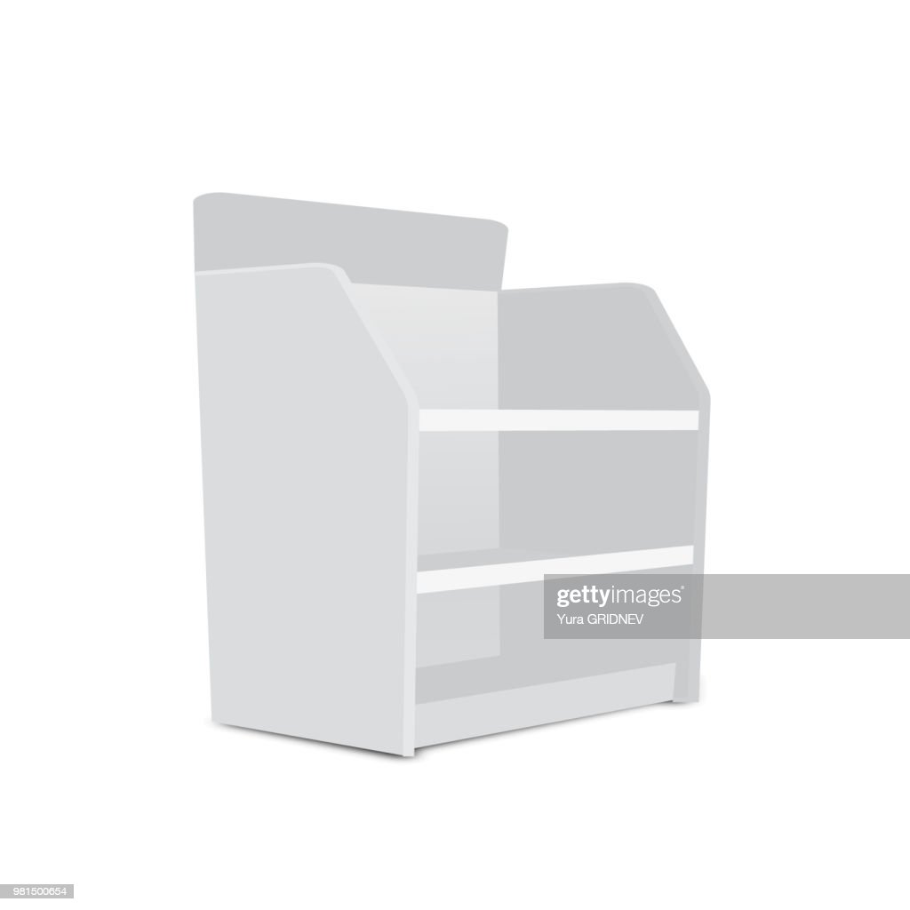 Showcase Displays With Retail Shelves on White Background Isolated. Ready For Your Design Avy Scott