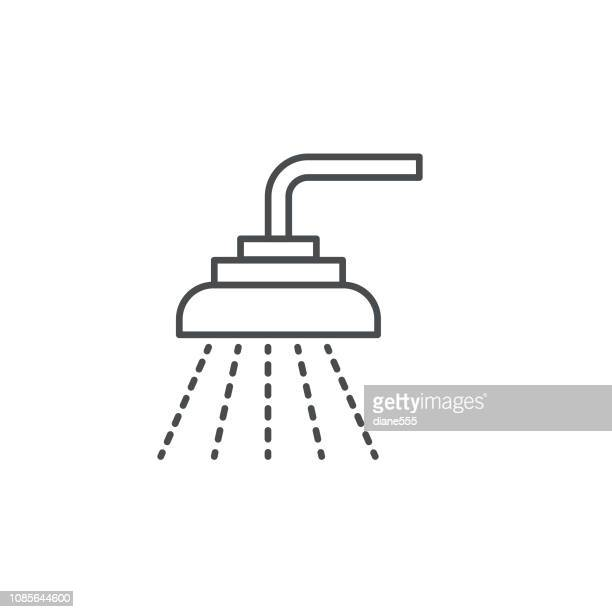 ilustraciones, imágenes clip art, dibujos animados e iconos de stock de ducha y baño delgada línea inmobiliaria conjunto de iconos - ducha