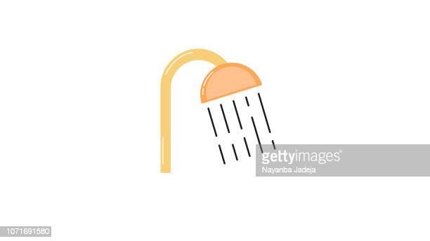 ilustraciones, imágenes clip art, dibujos animados e iconos de stock de cabeza de ducha en baño con agua gotas fluyendo - ducha