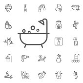 shower icon. beauty set of icons
