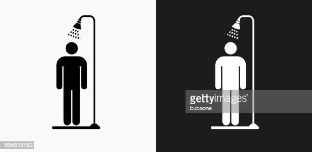 shower icon on black and white vector backgrounds - shower stock illustrations, clip art, cartoons, & icons