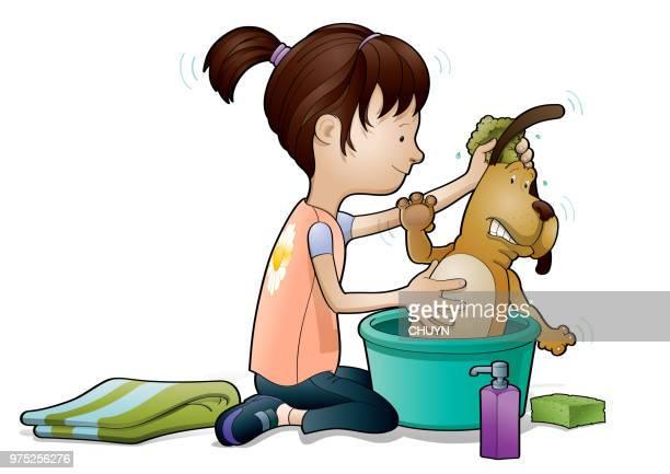 illustrations, cliparts, dessins animés et icônes de douche de temps - fille sous la douche