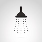Shower vector icon isolated on white background.