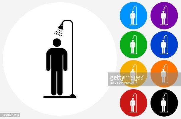 ilustraciones, imágenes clip art, dibujos animados e iconos de stock de showering icon on flat color circle buttons - ducha