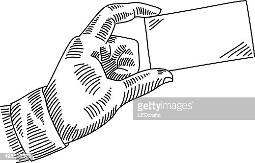 Exchanging business card drawing vector art getty images keywords reheart Image collections