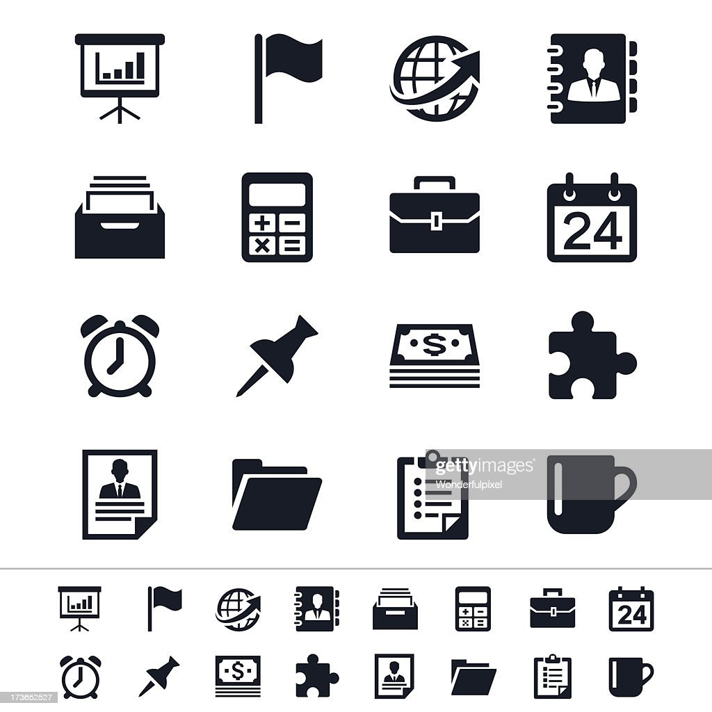 Showing various business and office icons