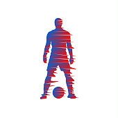 Shredded silhouette of soccer player with a ball.
