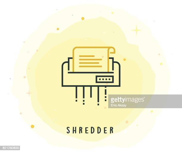 shredder icon with watercolor patch - hidden stock illustrations, clip art, cartoons, & icons