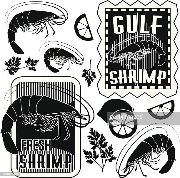 ilustrações, clipart, desenhos animados e ícones de camarão elementos de design - camarões