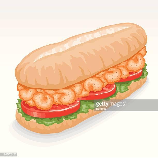 ilustrações, clipart, desenhos animados e ícones de sanduíche po boy de camarão - camarões