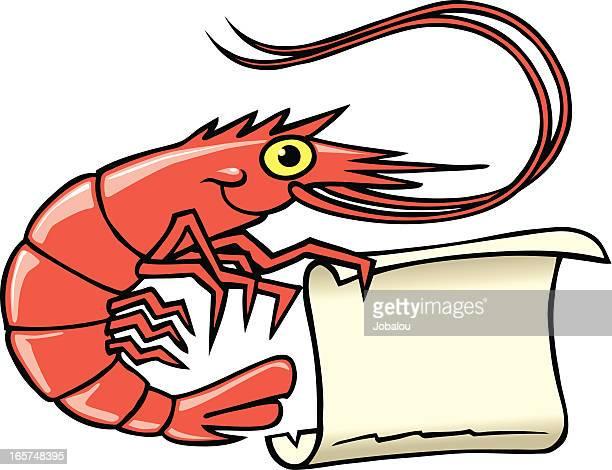 ilustrações, clipart, desenhos animados e ícones de placa de camarão - camarões