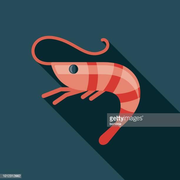 ilustrações, clipart, desenhos animados e ícones de ícone de design plano de espanha de camarão - camarões
