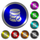 Shrink database luminous coin-like round color buttons