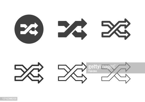 shuffle icons - multi series - personal compact disc player stock illustrations