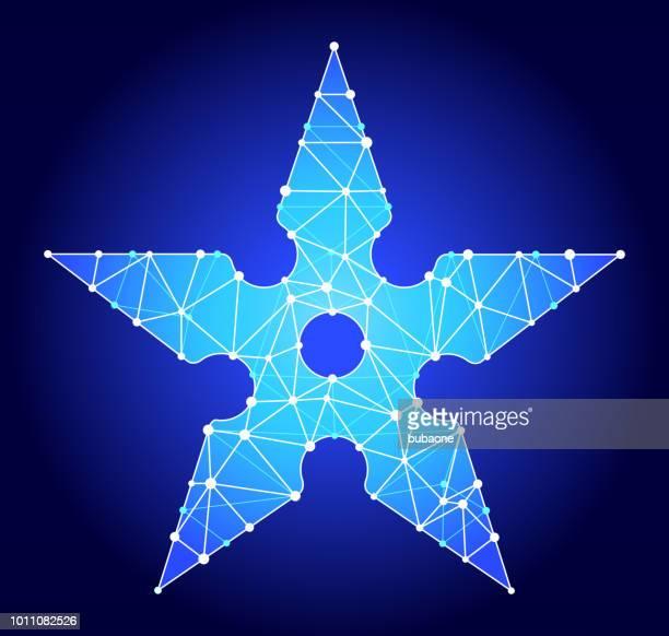 手裏剣青三角形ノード ベクトル パターン - 武器点のイラスト素材/クリップアート素材/マンガ素材/アイコン素材