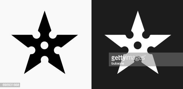 Shuriken Icon on Black and White Vector Backgrounds