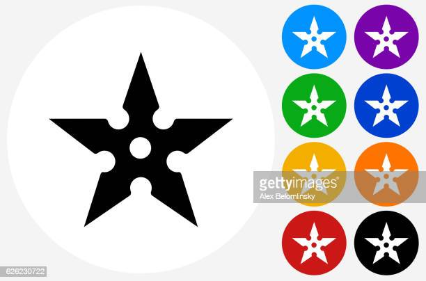 Shuriken Icon on Flat Color Circle Buttons