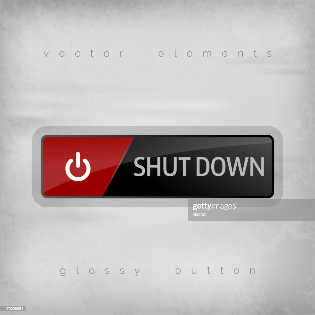 Shut down button icon in red and black