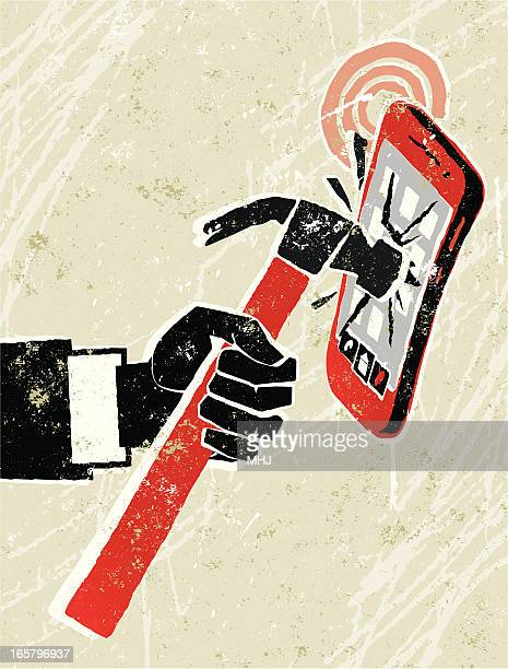 Shut up! Cellphone being hit with a hammer